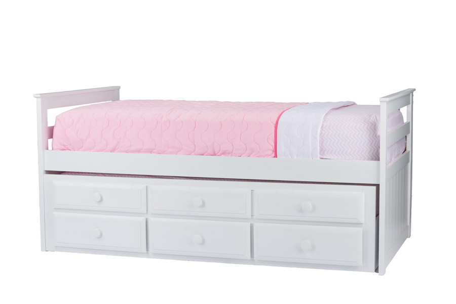 Baxton Studio Ballina White Wood Contemporary Twin Size Trundle Bed    BSOCTB101 Twin Bed ...
