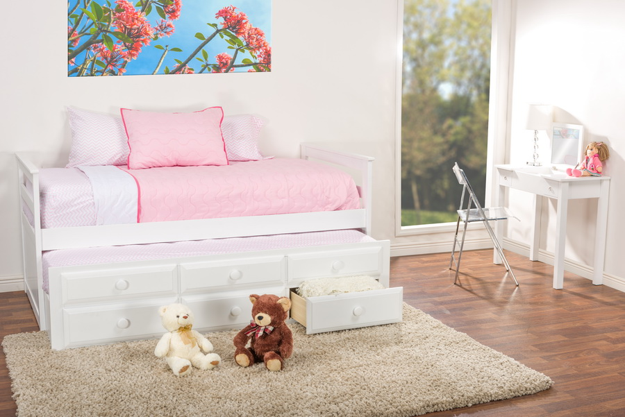 baxton studio ballina white wood twinsize trundle bed bed