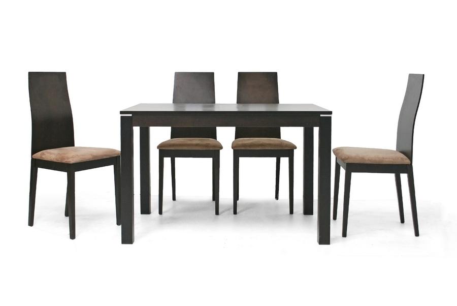 calhoun dark brown 5 piece modern dining set affordable