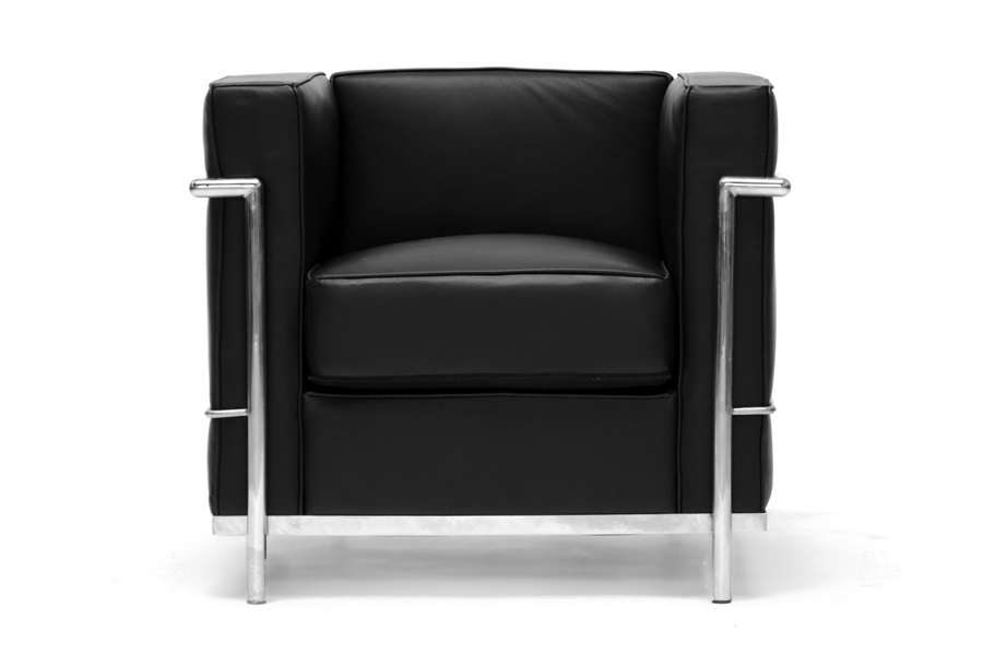 Black Le Corbusier leather chair  Affordable Modern