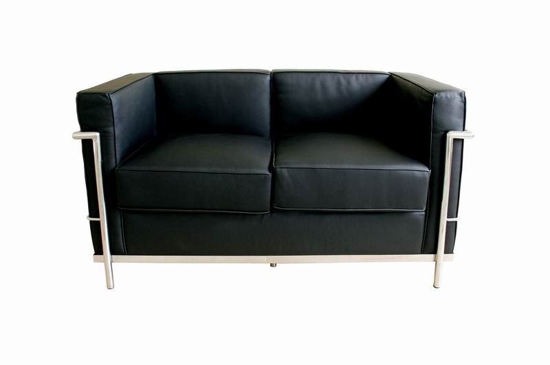 Le Corbusier Black Leather Loveseat Affordable Modern Furniture In Chicago