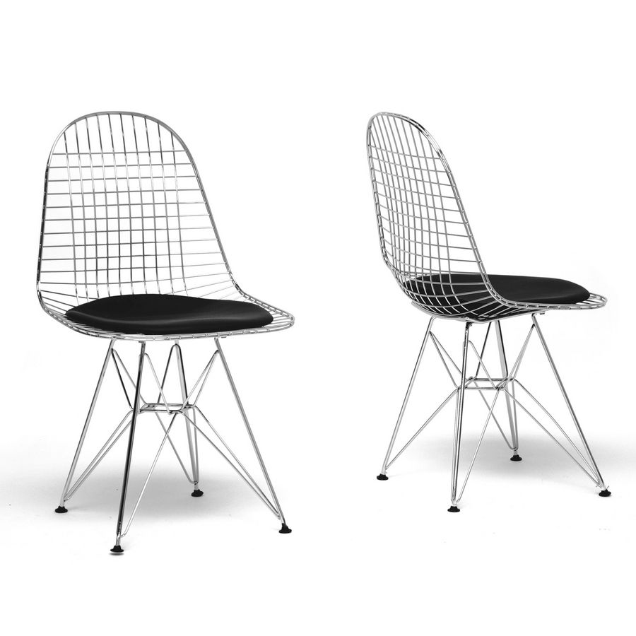 Baxton Studio Avery Mid Century Modern Wire Chair With Black Cushion (Set  Of 2 ...
