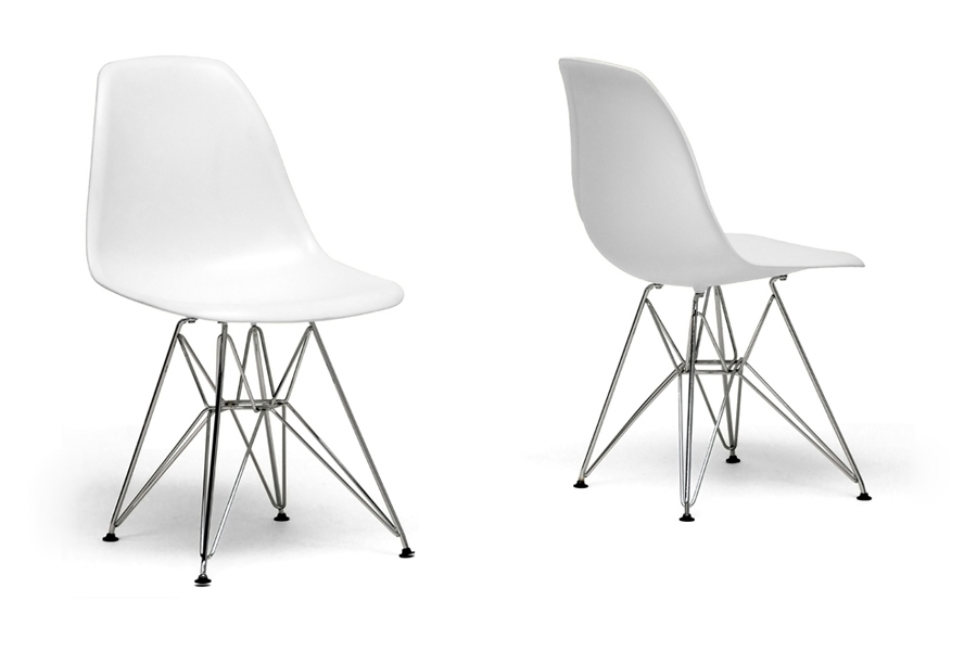 Eiffel Chair White Plastic With Chrome Metal Base