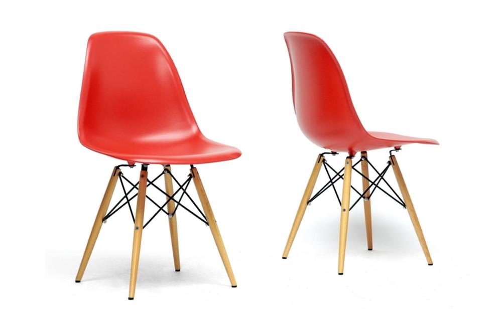 Baxton Studio Azzo Red Plastic Mid Century Modern Shell