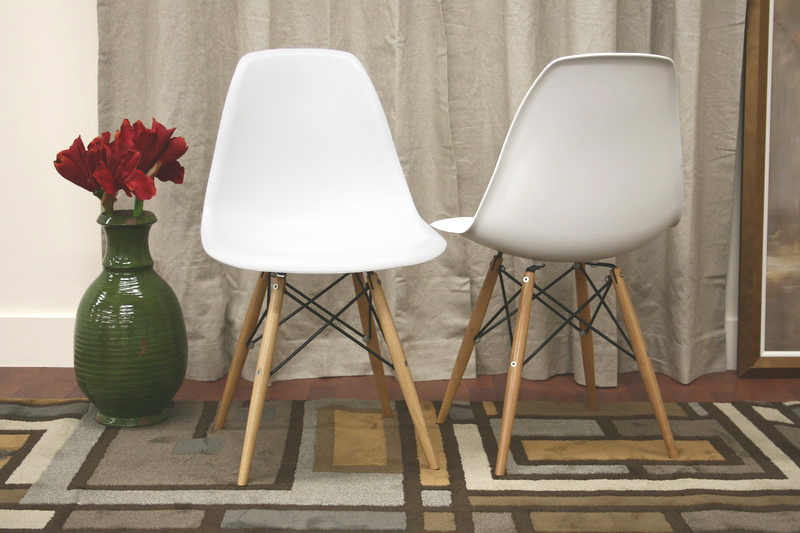 ... Baxton Studio Azzo White Plastic Accent Chair with Metal Support Wood  Leg (Set of 2