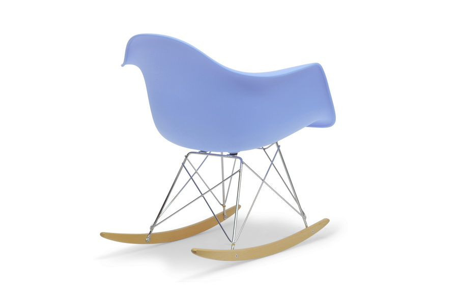 ... Blue Molded Plastic Shell Rocking Chair