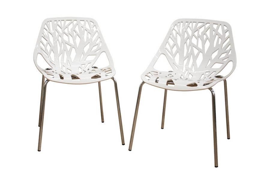 Baxton Studio Birch Sapling White Plastic Accent / Dining Chair (Set Of 2)  ...