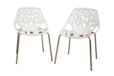 Birch Sapling White Plastic Accent Chair Dining Chair