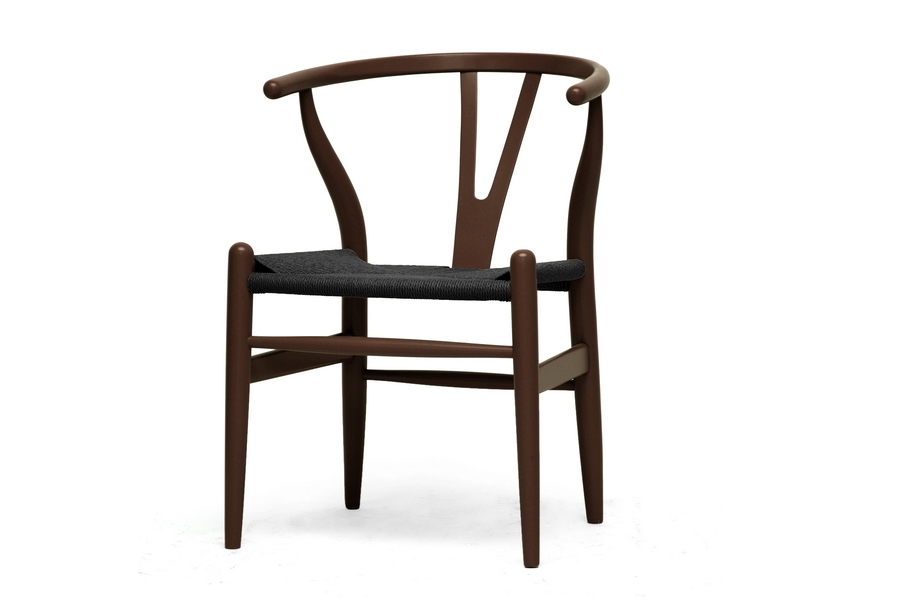 baxton studio wishbone chair brown wood y chair with black seat