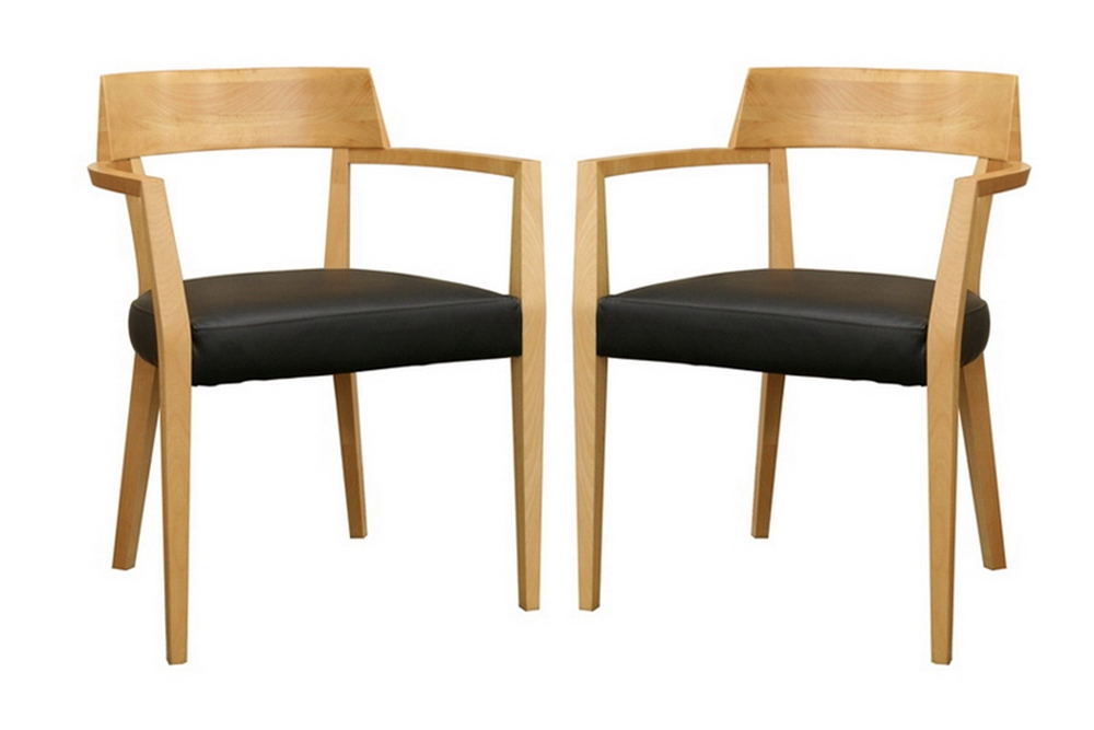 Baxton Studio Laine Light Wood Modern Dining Chair with Black Seat (Set of  2) ...