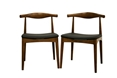 Baxton Studio Sonore Solid Wood Mid-Century Style Dining Chair (Set of 2)