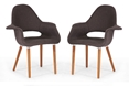 Baxton Studio Forza Dark Brown Fabric Mid-Century Modern Arm Chair (Set of 2) affordable modern furniture in Chicago, Living Room Furniture, Forza Dark Brown Fabric Mid-Century Modern Arm Chair