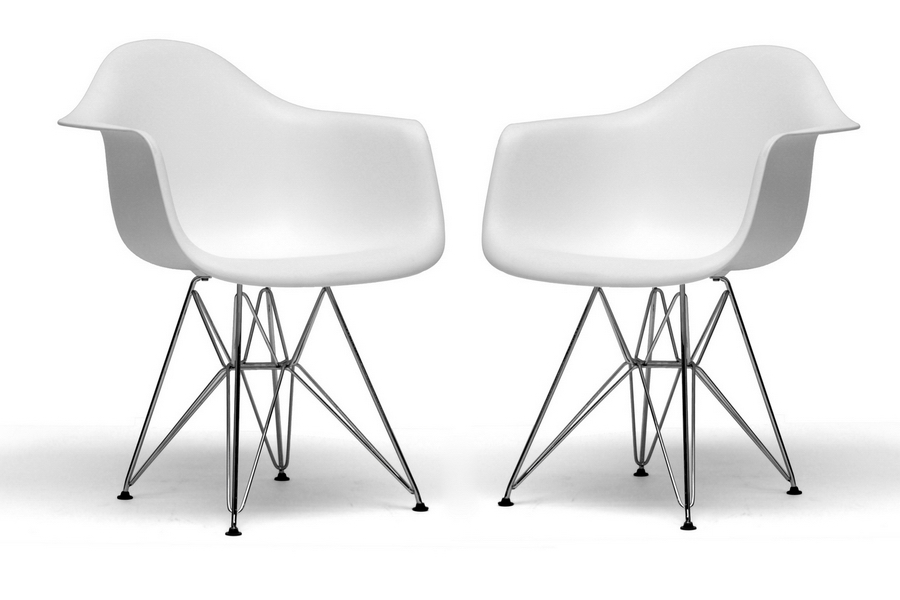 Baxton Studio Dario White Plastic Chair With Chrome Base Set Of 2 Bsodc
