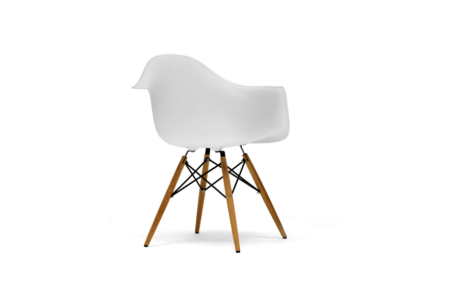 Pascal White Molded Plastic Chair With Brown Wood Legs