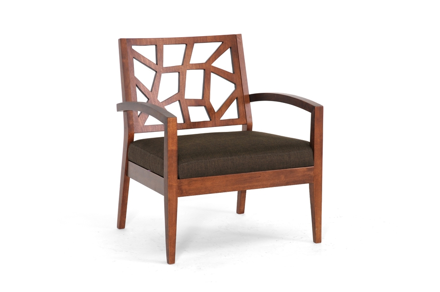 Exceptionnel Baxton Studio Jennifer Dark Brown Wood Modern Lounge Chair With Fabric Seat