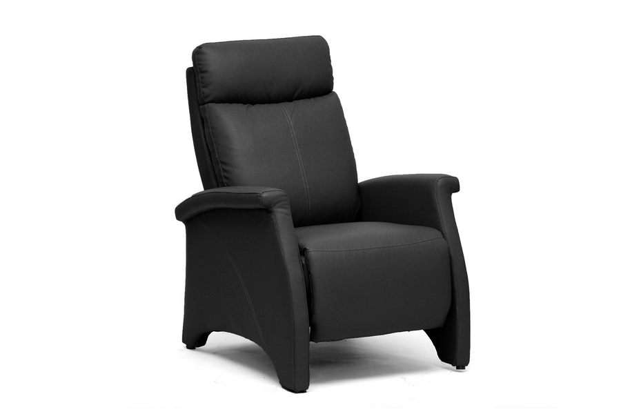 baxton studio sequim black modern recliner club chair