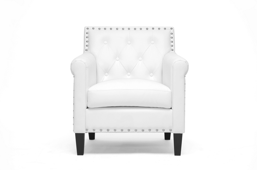 Baxton Studio Thalassa White Modern Arm Chair - BSOBBT5114-White-CC