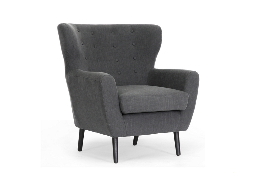 Lombardi Dark Gray Linen Modern Club Chair Affordable