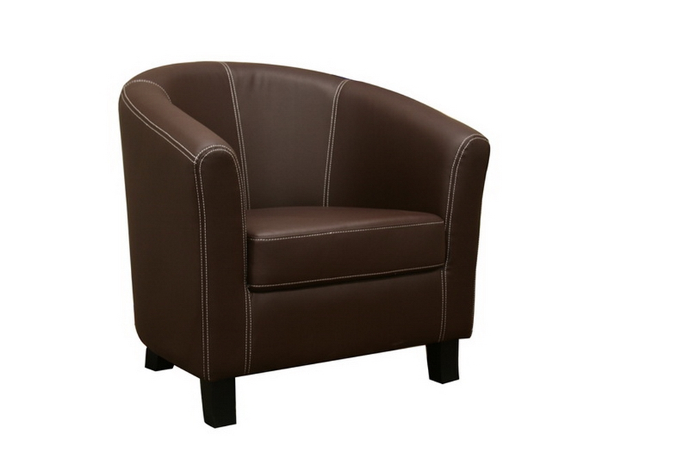 Elijah dark brown faux leather modern club chair for Modern leather club chairs