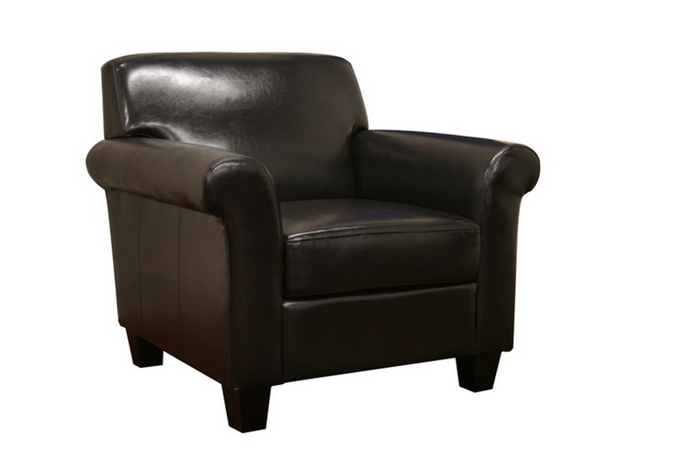 Atticus black brown faux leather modern club chair for Modern leather club chairs