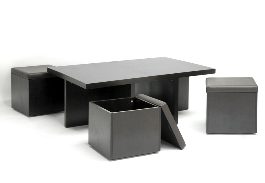 Baxton Studio Prescott Modern Table and Stool Set with Hidden Storage - BSOCT-1190-CTS-1190