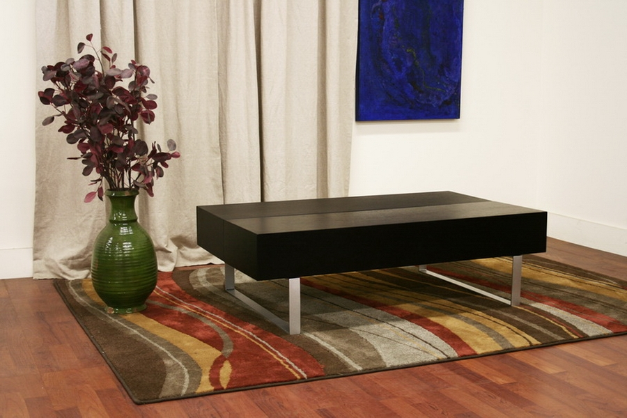 noemi black modern coffee table with storage compartments