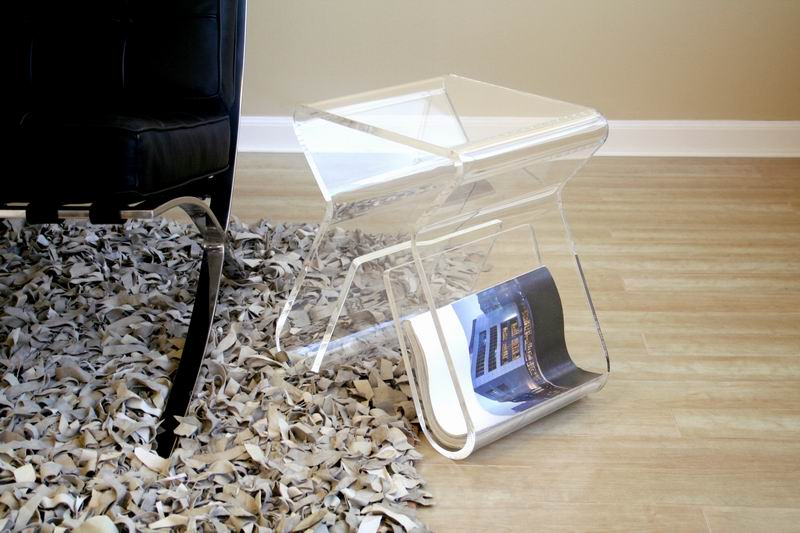 Dolly Clear Acrylic Side Table With Magazine Rack Affordable Modern Furniture In Chicago