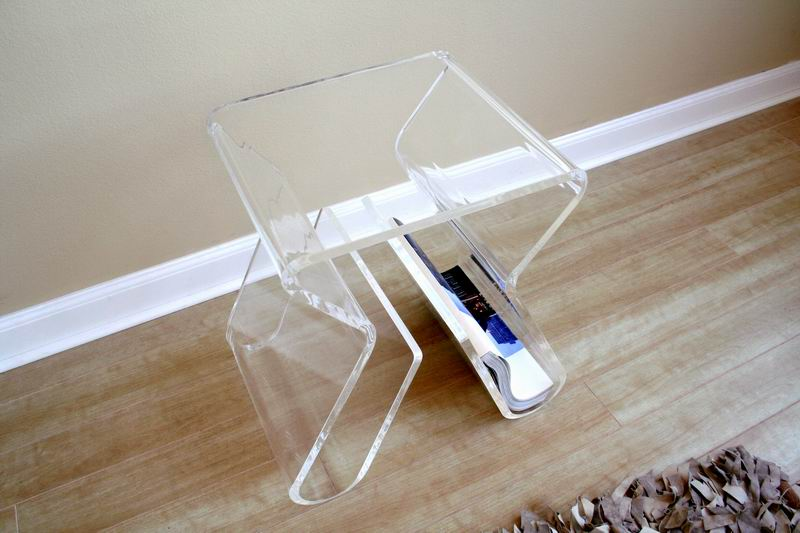 dolly clear acrylic side table with magazine rack