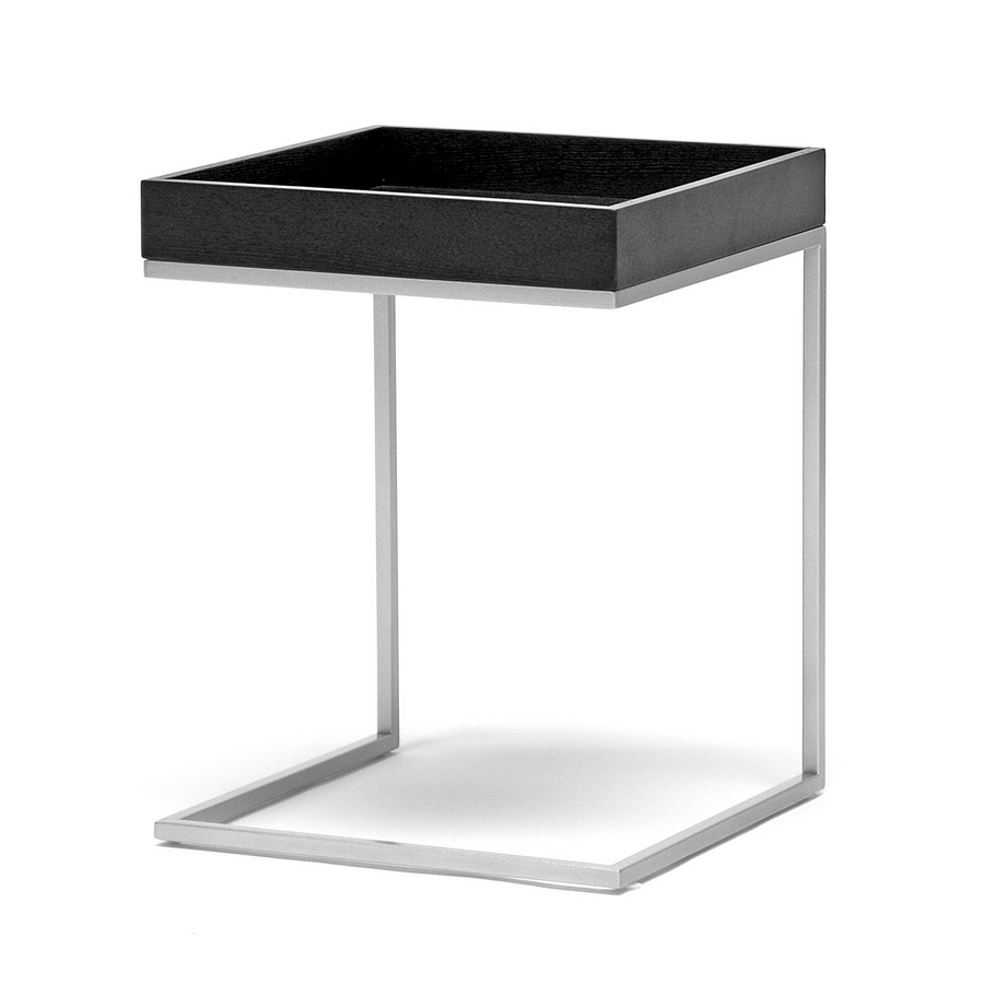 loni black wood tray top end table with silver metal c base  - loni black wood top c table