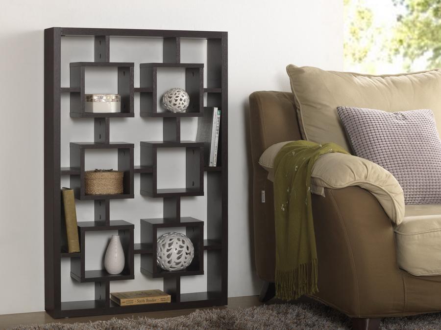 Baxton studio eyer dark brown modern display shelf for Affordable furniture 290
