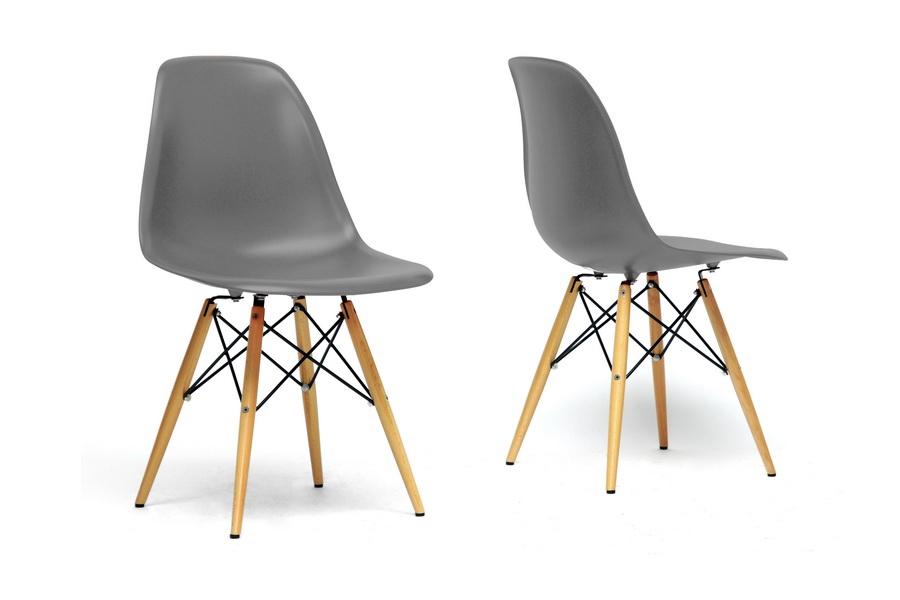 Baxton Studio Azzo Grey Plastic Mid Century Modern Shell Chair (Set Of 2)