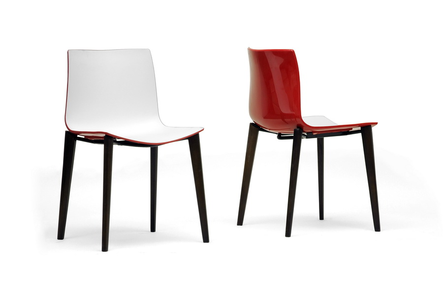 Soren White And Red Modern Dining Chair Affordable Modern