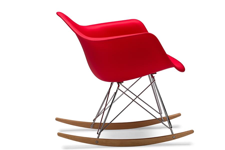 ... Baxton Studio Dario Red Plastic Mid Century Modern Rocking Chair    BSODC 311W  ...
