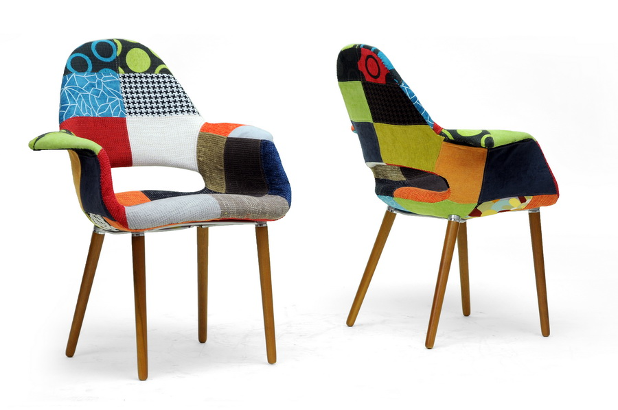 Forza Patchwork Mid Century Style Accent Chair