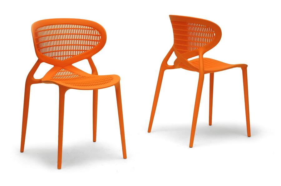 Baxton Studio Neo Orange Plastic Modern Dining Chair (Set Of 2)