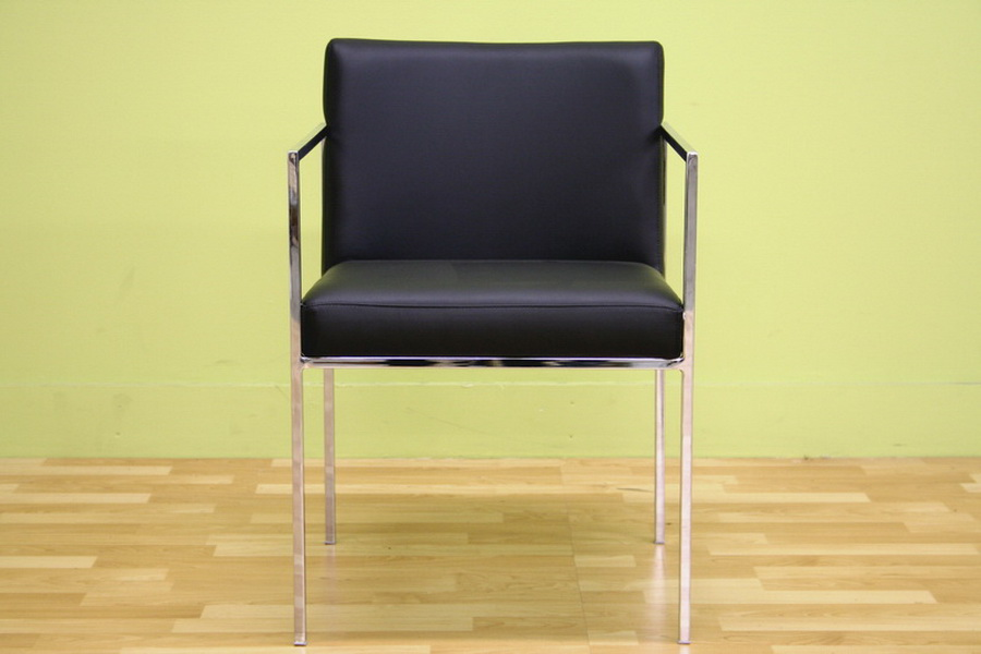 Atalo Black Leather With Silver Metal Legs Arm Chair