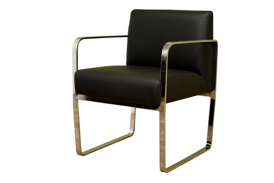 Meg black leather with silver metal legs arm chair for Leather dining chairs with metal legs