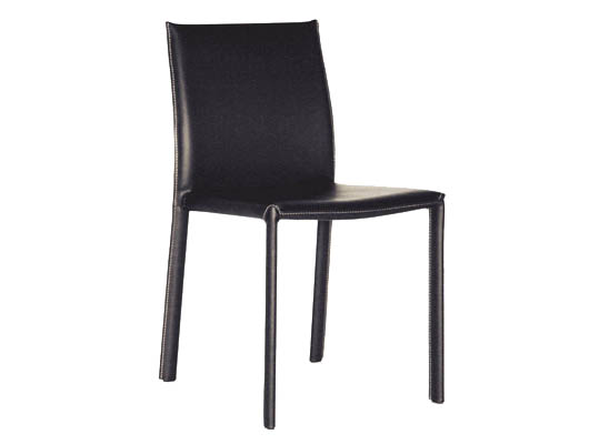Captivating Crawford Black Leather Dining Chair With Black Leather Legs