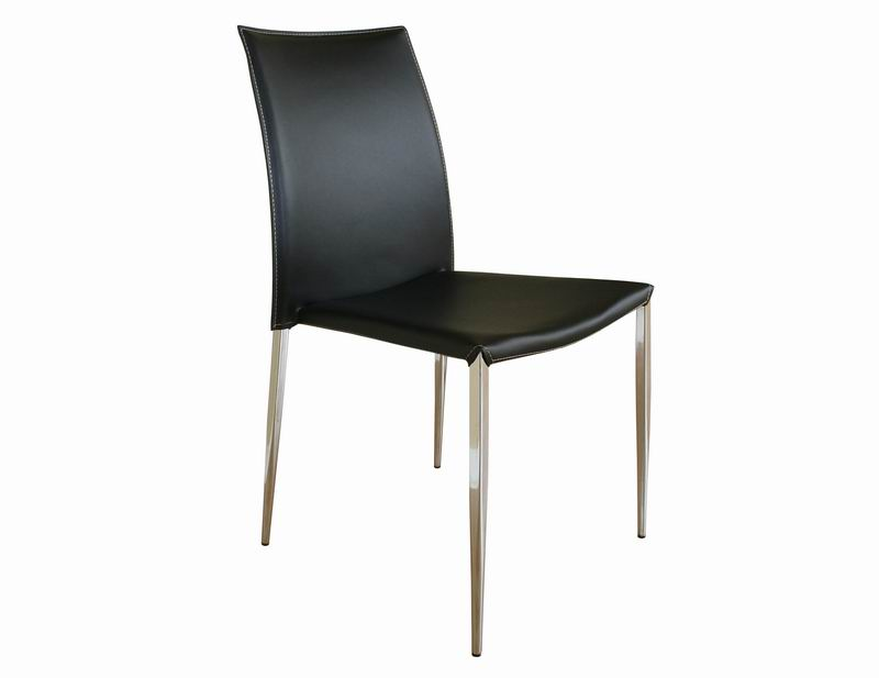 New york black leather with chrome legs dining chairs for Cheap modern furniture nyc