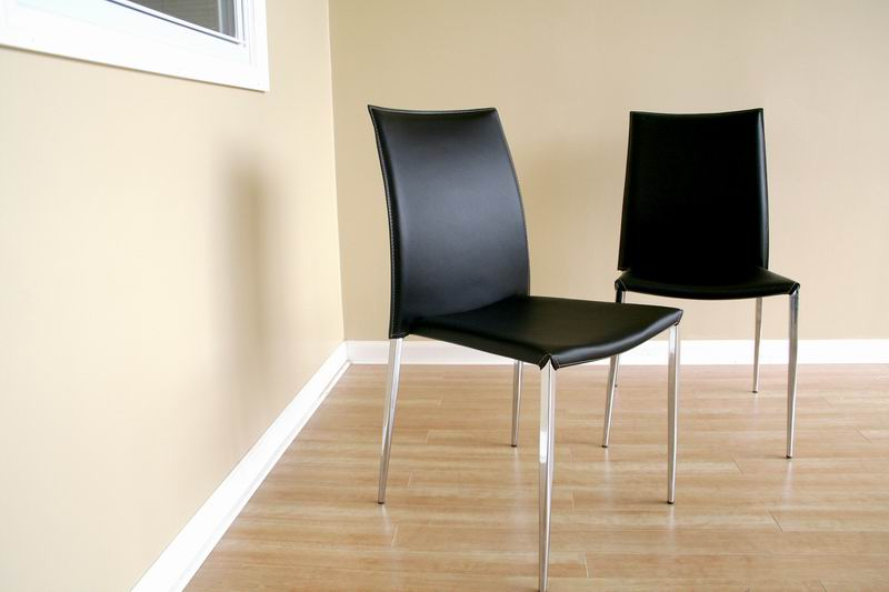 New York Black Leather With Chrome Legs Dining Chairs