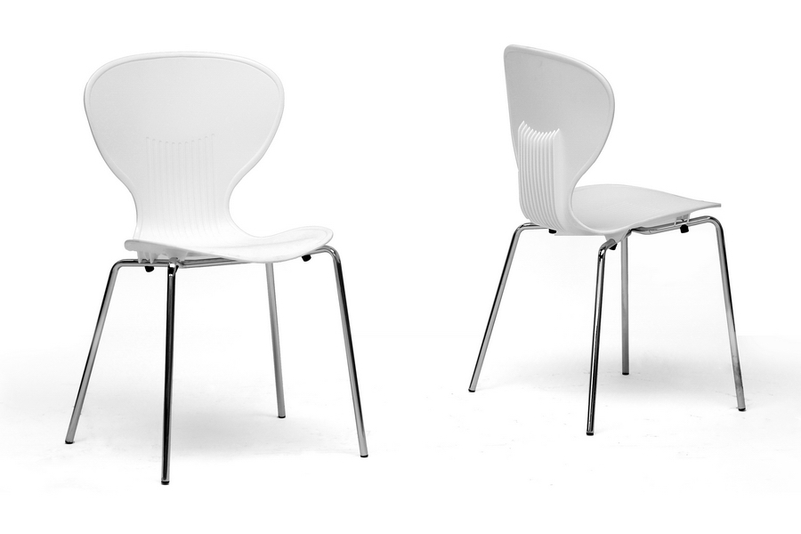 Baxton Studio Boujan White Plastic Modern Dining Chair Set Of 2 Bsodc
