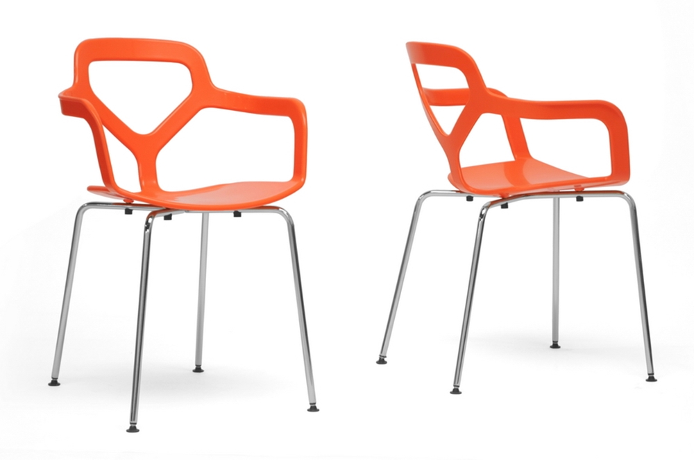 Baxton studio miami orange plastic modern dining chair for Cheap modern furniture in miami