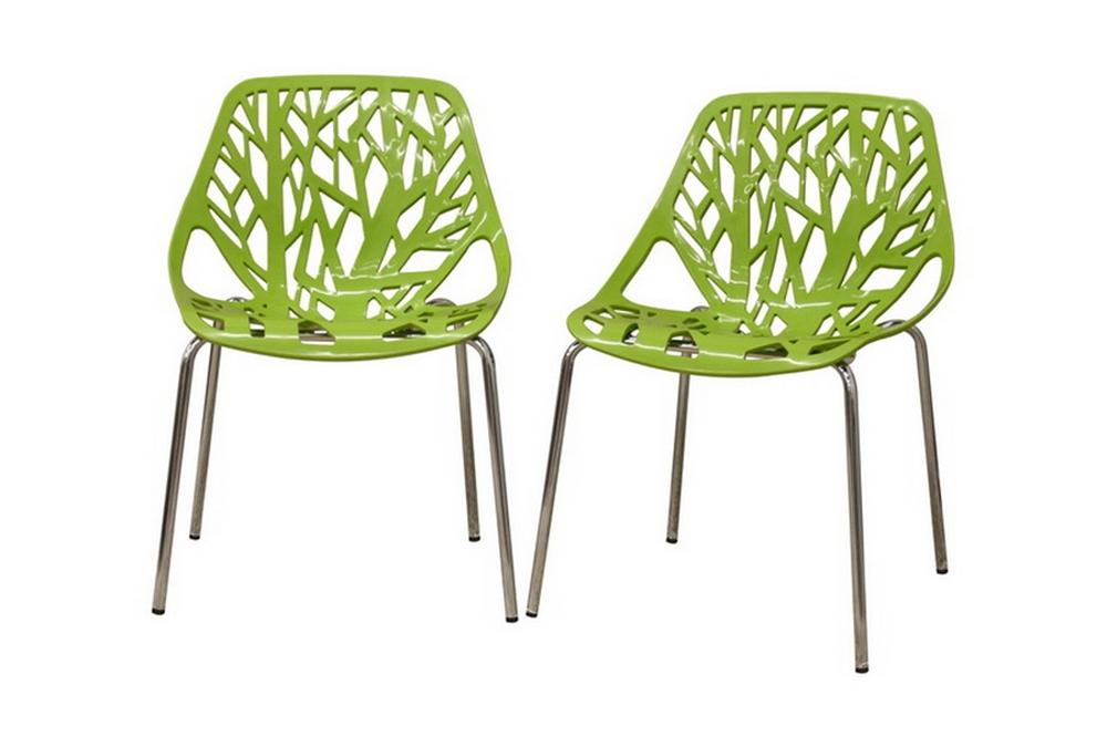 Birch Sapling Green Plastic Modern Dining Chair Set Of 2