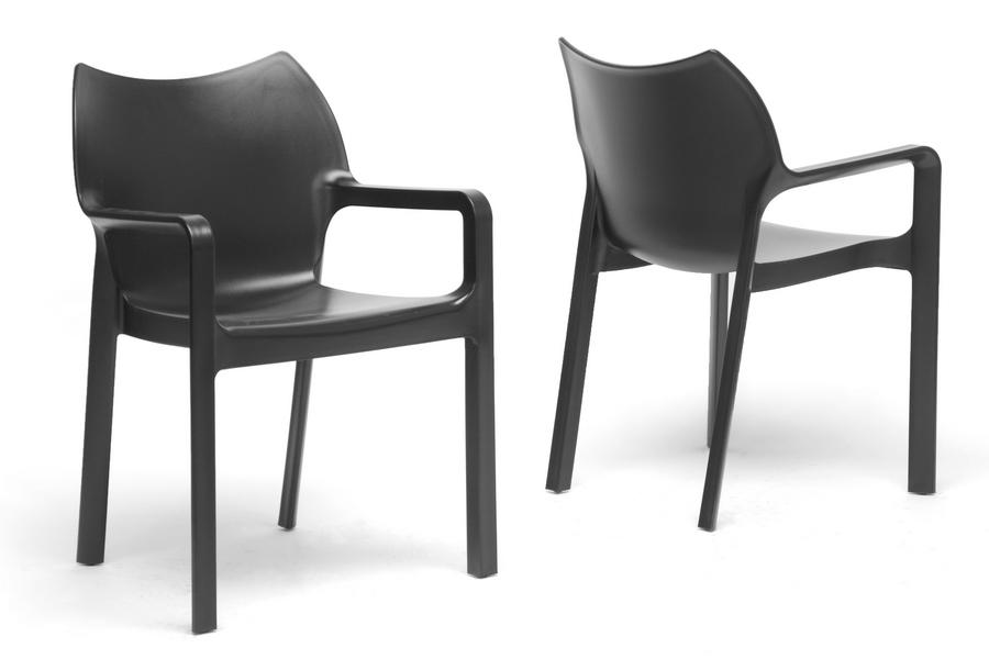 Baxton Studio Limerick Black Plastic Stackable Modern Dining Chair (Set Of  2)   BSODC ...