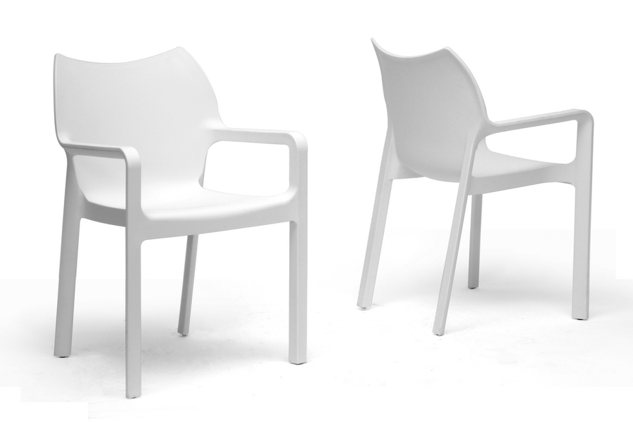 Baxton Studio Limerick White Plastic Stackable Modern Dining Chair Set Of 2 Bsodc