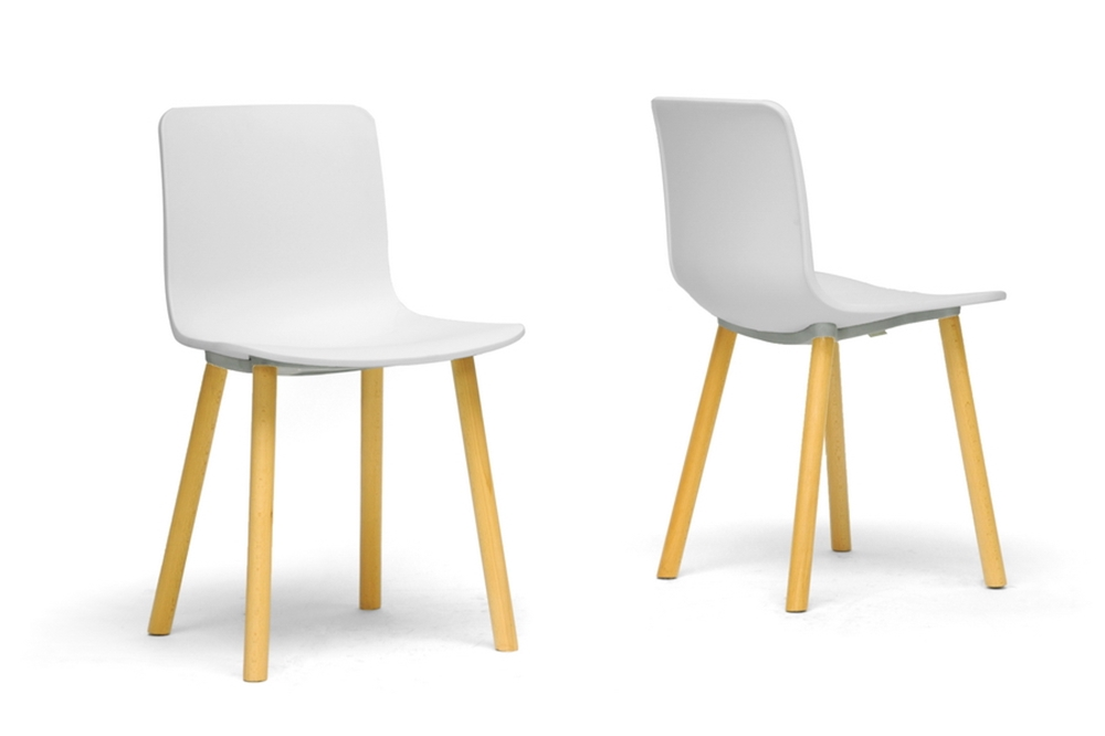 Baxton studio lyle white plastic modern dining chair for Contemporary furniture dining chairs