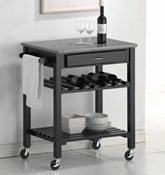 Baxton Studio Quebec Black Wheeled Modern Kitchen Cart with Granite Top affordable modern furniture in Chicago, Quebec Black Wheeled Modern Kitchen Cart with Granite Top, Dining Room Furniture