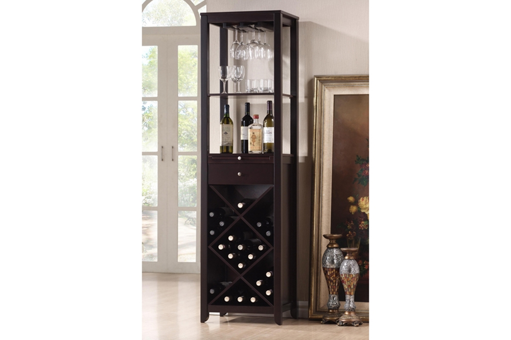 Austin Brown Wood Modern Wine Tower