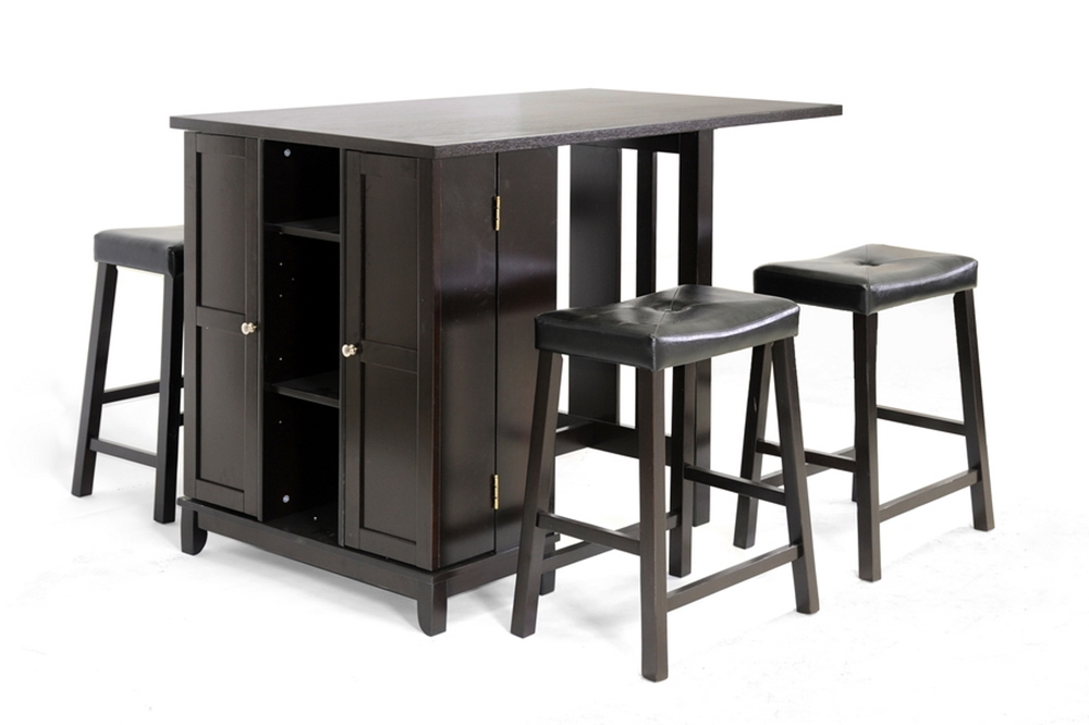 Baxton Studio Aurora 5 Piece Dark Brown Modern Pub Table Set With Cabinet Base Bar Furniture