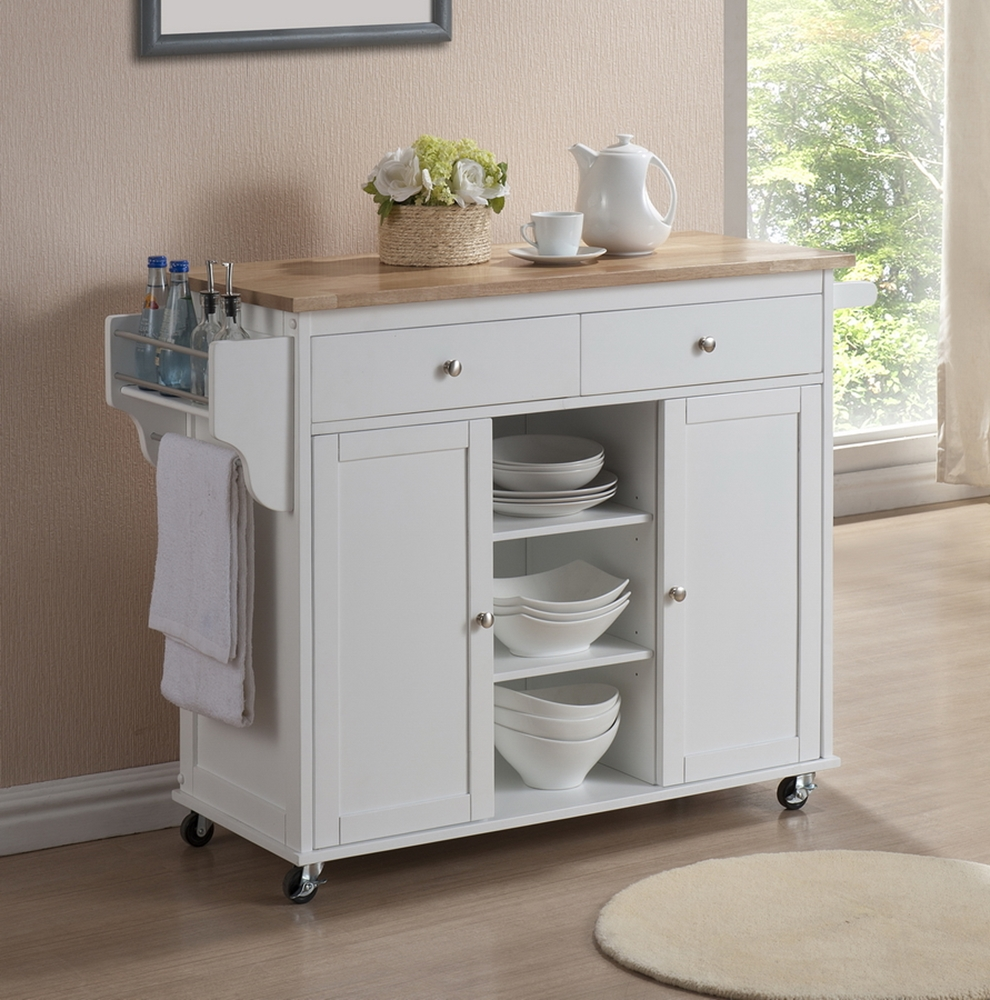 Meryland white modern kitchen island cart affordable for Extra storage for small kitchen